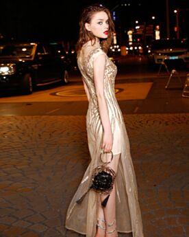 Con Tul Largos Vestidos Fiesta De Noche Dorados Ajustados Lentejuelas Brillantes Vestidos Para Año Nuevo Cuello Alto