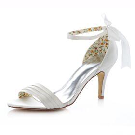 Peep Toe Satin Talons Hauts Chaussure Femme Demoiselle D'honneur Mariée Sandales Femme Noeud Mary Jane 8 cm / 3 inch D'été Aiguilles Blanche