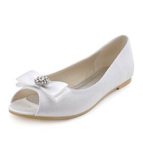 Wedding Bridesmaid Pumps Bow Satin Flats Peep Toe Fall Shoes For Women