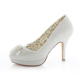 Spring Pearl Rhinestones Stilettos Bridesmaid Wedding Pumps Satin Heels High Heels Womens Shoes 10 cm / 4 inch