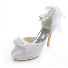 White Satin 10 cm / 4 inch Bridal Bridesmaid Pumps Heels Sandals For Women Womens Shoes With Lace Pearl Ankle Strap Stilettos High Heels