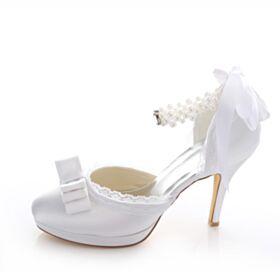 Tacchi Spillo Scarpe Da Sposa Con Perle 10 cm Tacco Alto Lacci Caviglia Bianche Decoltè