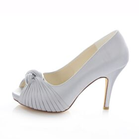 Talons 10 cm / 4 inch Satin Talons Hauts Argenté Bout Ouvert Chaussure Femme Demoiselle D'honneur Mariée Pumps Aiguilles