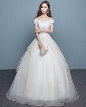 Manga Corta Corte A Volantes Blancos Encaje Elegantes Vestidos De Novia Iglesia Hombros Caidos