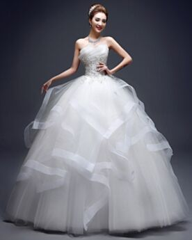 Tüll Ärmellos Rüschen Weiß Brautkleider Frühlings Ball Gown Trägerloses
