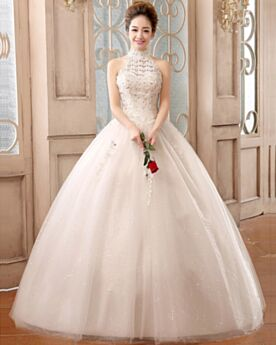 Halter Long With Sequin / Glitter Organza Lace Vintage Charming Church Sleeveless White Wedding Dress Ball Gown