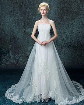 Mouwloze Empire Bruidsjurk Lange Tule Witte