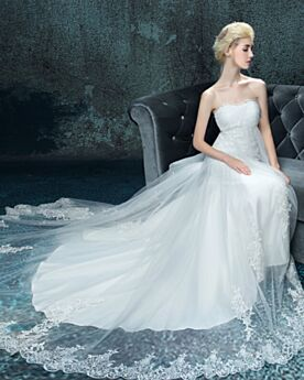 Appliques Wedding Dresses With Train Long Summer Simple Beautiful Strapless Sweetheart Beach Tulle Empire White