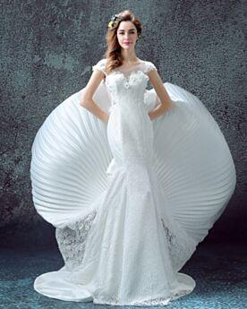 Sheath Mermaid Wedding Gown Sweetheart Beautiful Short Sleeve Spring Summer Satin Tulle Lace Beach Outdoor / Garden Bow