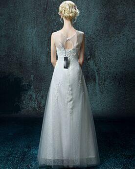 Lange A Linie / Prinzessinen Tüll Spitzen Rückenfreies Elegante Schlichte Ärmellos Hochzeitskleider