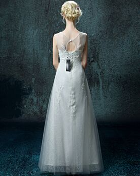 Witte Bruidsjurken Mouwloze Lange Herfst A Lijn Ronde Hals Mooie