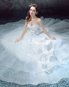 Sleeveless Strapless White Spring Flounce Open Back Bow Beilt Sexy Beach Lace Tulle Ball Gown Wedding Dresses