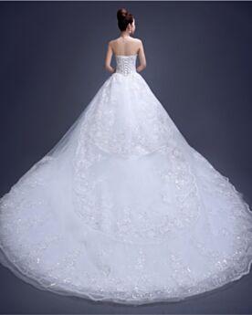 A Lijn Witte Mooie Tule Mouwloze Bruidsjurken