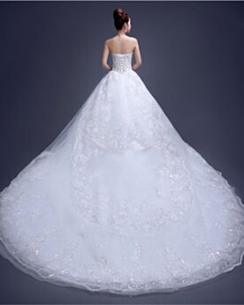 Sparkly Elegant Luxury A line Sleeveless Bridal Gown With Sequin / Glitter Backless White Tulle With Train Long