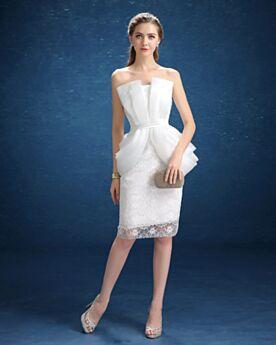 Elegantes Ajustados Civil Con Tul Encaje Drapeados Sin Hombros Vestidos De Novia Sencillos Cortos