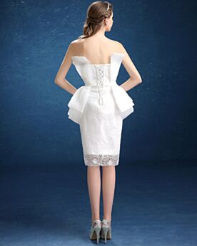 Short Reception Bridal Gown White Charming Simple Sheath Summer Sleeveless With Lace Flounce Beilt Tulle Customizable