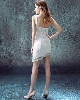 Cortos Asimetricos Civil Sin Espalda Elegantes Sin Manga Blanco Vestidos De Novia De Encaje