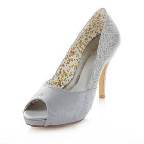 Chaussure Mariée Demoiselle D'honneur Talons Talon Haut Brodé 10 cm / 4 inch Bout Ouvert Printemps D'automne Escarpins Femmes Satin Paillette