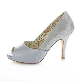 Satin Sequin High Heeled Embroidered Wedding Bridesmaid Shoes Open Toe Spring Summer Fall Stilettos Silver 10 cm / 4 inch Heels Pumps