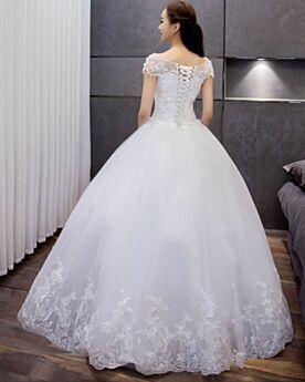 Spitzen Tüll Weiß Kirche Brautkleid Elegante Vintage Rundhalsausschnitt Ballon Ärmellos Lange