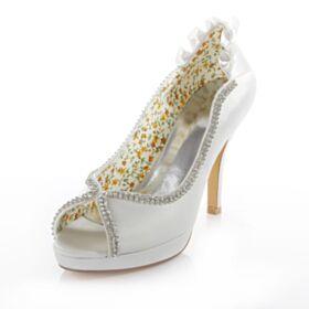 Blanche 2017 Peep Toe Escarpins Demoiselle D'honneur Mariée Satin Strass Talons Talons Hauts Chaussure 10 cm / 4 inch Printemps