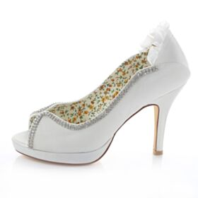 Rhinestones Satin Peep Toe Heels Bridesmaid Bridal Pumps 10 cm / 4 inch High Heel Stiletto