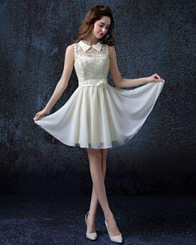 Mini Fit N Flare Kragen Rückenfreies Gürtel 3D Blumen Sommer Schöne Schlichte Brautkleider Ivory / Beige Ärmellos