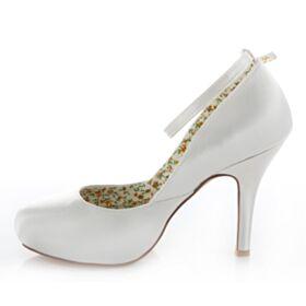 Highheels Satin Weiß Stilettos Fallen Knöchelriemen Braut Brautjungfern Pumps Hochhackige Schuhe Damen