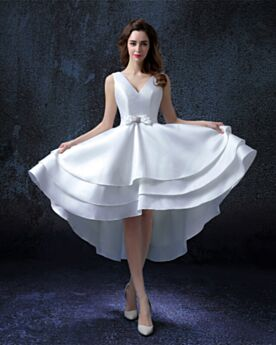 Satin Fit And Flare Summer Wedding Dress High-Low Short White Ruffle Open Back Deep V Neck Beach Reception Charming Vintage Simple