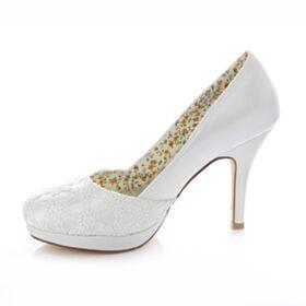 Stiletto Tacon Alto Zapatos De Novia Blancos Zapatos Tacones