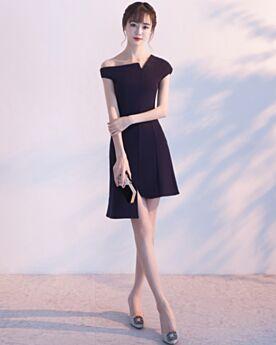 セミ フォーマル ドレス LBD アシンメトリー 黒 ショート セクシー シース サテン 20170828845