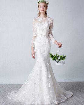 Mit Schleppe Bohemian Elegante Weiß Lange Ärmel Meerjungfrau Strand Brautkleid Frühlings