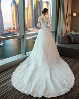 White Lace Half Sleeve Backless Princess Off The Shoulder Elegant Gorgeous Long With Train Wedding Dresses