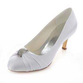 Satin 7 cm Rhinestones Heels White Stilettos Bridal Bridesmaid Pumps Shoes Spring Fall