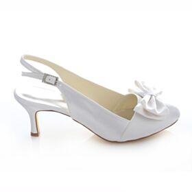 Bow Slingbacks Stilettos Bridesmaid Bridal Pumps White Pointed Toe Satin Womens Shoes Mid Heels