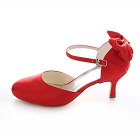 Pumps Mariée Demoiselle D'honneur Satin Chaussure Femme Talons 7 cm Aiguilles Noeud Mary Jane Rouge
