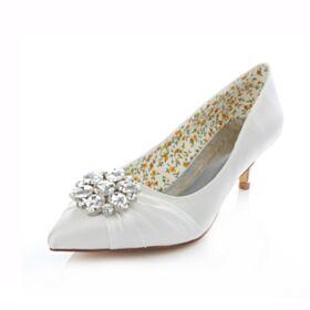 Printemps D'automne Satin 5 cm / 2 inch Blanche Talons Aiguilles Chaussure Mariée Demoiselle D'honneur Escarpins Talon Mid Volantée Strass