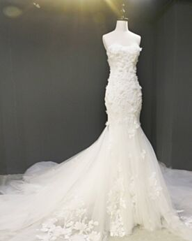 Ärmellos Brautkleid Bandeau Spitze Perlen Rückenfreies Sommer Elegante Luxus Mit Schleppe Lange Meerjungfrau