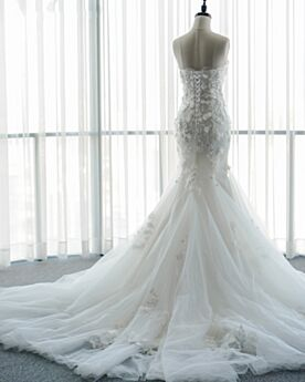 Beach Lace Bridal Gown Bandeau Beaded Backless Mermaid Sleeveless Long With Train Elegant Gorgeous