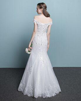 Meerjungfrau Etui Strand Garten / Im Freien Weiß Spitzen Elegante Maxi Ärmellos Brautkleid Rückenfreies