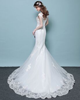 Open Back Lace Wedding Dress Sleeveless Mermaid Sheath White Charming Long With Train Scoop Neck