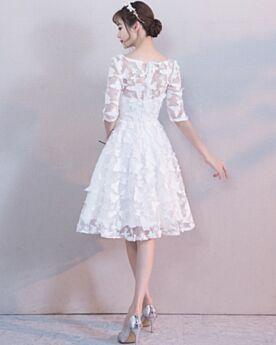 Corti Svasato Bianco Semplici Boho Mezza Manica Vestiti Da Sposa Pizzo Da Spiaggia