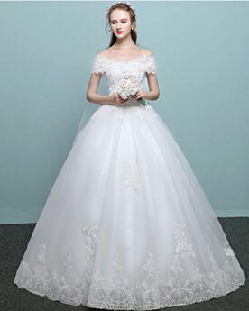 Elegante Lange Mit Schleppe Rückenfreies Hochzeitskleider Ballon Ärmellos Tüll Spitzen Weiß