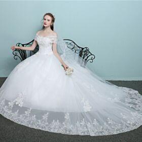 Con Cola Blancos Vestidos De Novia De Encaje Sin Espalda Elegantes Hombros Caidos