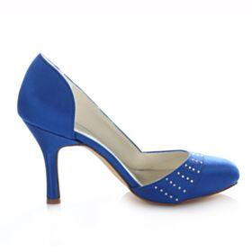 Satin Printemps D'été Haut Pumps Mariée Demoiselle D'honneur Aiguilles Bleu Roi Talons