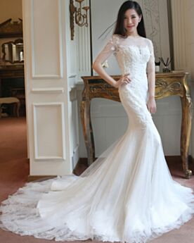 Half Sleeve Wedding Dress Charming Long With Train Low Cut With Lace Backless / Open Back Sheath Mermaid Tulle
