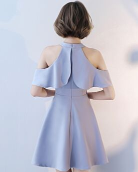 Lavender Short Office Going Out Dresses Chiffon Flounce Skater Beautiful Simple Sleeveless