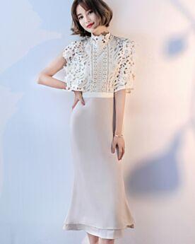 Chiffon Spitzen Hochgeschlossene Midi Champagner Elegante Cut Out Hochzeitsgäste Tages Kleider Für Damen Ärmellos Etui Sommer