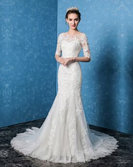 Half Sleeve Wedding Dress White With Train Long Mermaid Elegant With Lace Open Back Tulle