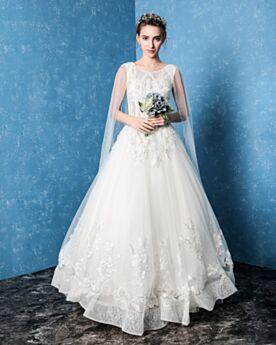 A Linie Sommer Mit Spitze Rückenfreies Weiß Brautkleider Tüll Elegante Rundhalsausschnitt
